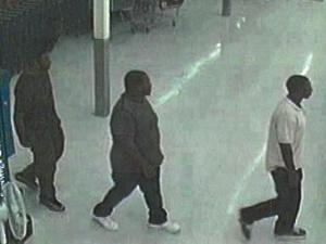 Surveillance cameras at a Food Lion store in Roanoke Rapids caught a group of three men authorities believe is counterfeiting credit cards and bank accounts using gift cards.
