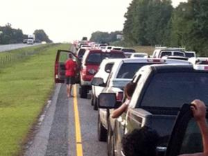 Viewer-submitted photo of traffic at a standstill on Interstate 40 near the Sampson-Pender County line.