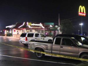 Johnston County sheriff's officials were searching for two men armed with a shotgun who robbed a McDonald's near Clayton Friday night, Aug. 19, 2011.