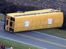 Sky 5 coverage of overturned school bus