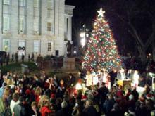 Perdue lights NC Christmas tree