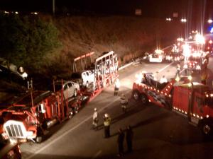 A tractor-trailer wreck on Interstate 540 at Louisburg Road in Raleigh slowed traffic to a crawl Wednesday night, Raleigh police said.