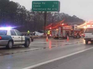 A wreck on U.S. Highway 264 in Raleigh caused lane closures on Jan. 11, 2012.
