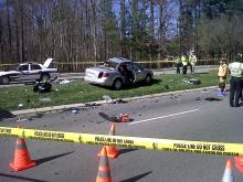 A two-vehicle crash closes W. Chatham Street in Cary on Feb. 12, 2012. (Photo by Sloane Heffernan)
