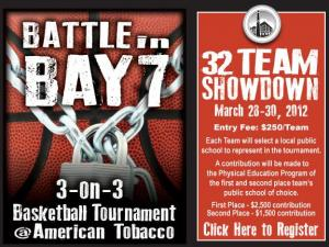 The 3-on-3 basketball tournament made up of teams from local companies will take place on March 28-30, 2012.