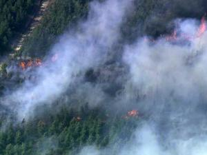Sky 5 aerial view of Bahama woods fire