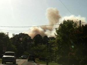 Smoke from a large brush fire in Wilmington