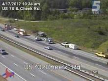 The three right eastbound lanes of U.S. Highway 70 near Cheek Road in Durham were closed after a wreck involving a dump truck around 8:30 a.m. Tuesday, April 17, 2012.