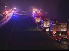 Interstate 95 in Nash County re-opened Thursday around 10:30 a.m. after a major wreck involving three tractor-trailers brought traffic to a standstill Wednesday night.