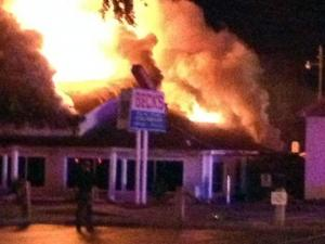 A fire destroyed Beck's restaurant in Calabash on Oct. 22, 2012. (Photo courtesy of Holly Stevens)