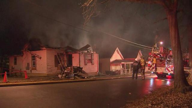 Firefighters were on the scene early Monday of a blaze at 2012 Ashe St. in Durham.