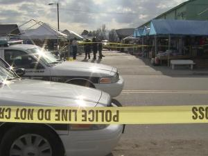 Two men were shot at the Durham Green Flea Market, 1600 E. Pettigrew St., around 1 p.m. Sunday, Dec. 9, 2012.