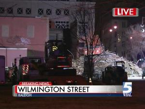 Construction crews digging with an excavator at a demolished building, at 301 S. Wilmington St., ruptured a small gas line, authorities said. The leak was reported shortly after 9 p.m. and was shut off about two hours later.