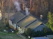 A single-story home in east Raleigh caught fire Thursday morning, authorities said.