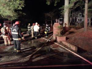 A large fire broke out in the basement of a Wendell home Wednesday night, sending three people to the hospital for smoke inhalation, according to the Wendell Fire Department.
