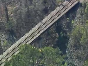 Human bones were found near the N.C. Highway 561 railroad bridge Sunday, March 3, 2013.