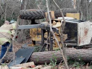 A man was pinned beneath an overturned front-end loader in Fayetteville on March 6, 2013, while clearing trees along Skibo Road.