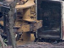 Investigators don't know why logging vehicle flipped
