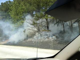 A viewer submitted this photo of smoke from a large woods fire off Interstate 40 in Johnston County.