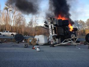 All eastbound lanes of Interstate 540 were closed Wednesday evening near U.S. Highway 401 due to a wreck, state transportation officials said. Photo by Matt Dougherty