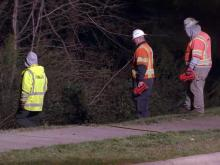 A fire shut down westbound Cary Parkway from Lake Pine Drive to Two Creeks Road on March 21-22, 2013.