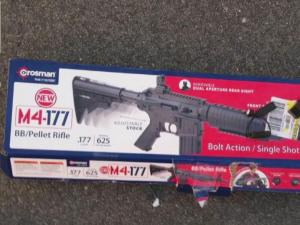 A woman found this package for a BB rifle gun in a Wakefield parking lot where BB shots were fired.