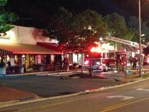 A fire that started in the kitchen did heavy damage early Wednesday to a sushi restaurant in Raleigh's Cameron Village Shopping Center, authorities said.