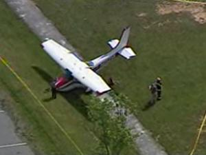 A small plane crashed Thursday evening on the soccer field of Brevard Elementary School in Transylvania County, authorities said.