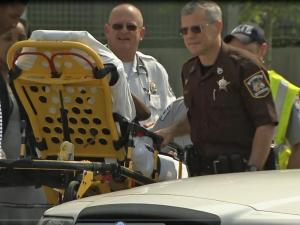 A child hit by a car Wednesday was taken away by ambulance.