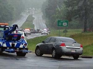 Law enforcement had a section of U.S. Highway 301 blocked in Fayetteville Friday morning.