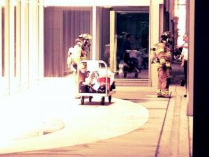 A viewer submitted this photo of emergency personnel evacuating the baggage claim area of Terminal 2 at Raleigh-Durham Interational Airport after a suspicious bag was found.