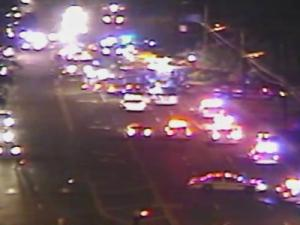 A traffic camera captured this image of a crash that shut down all but one lane of Duke Street in Durham for about an hour.