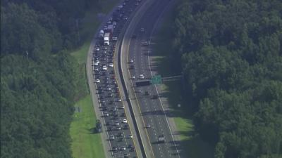 SKY5 shows an aerial view of the I-40W traffic jam in Orange County on July 26, 2013.