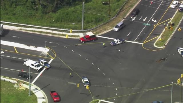 Sky5 footage of crash in Raleigh intersection
