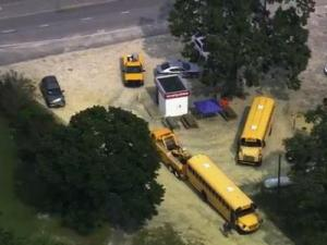 A bus carrying 13 students from Corinth Holders High School in Wendell crashed Monday afternoon, Sept. 9, 2013, in northeast Clayton.