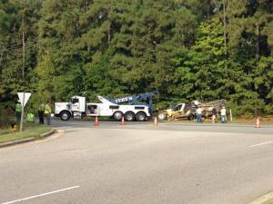 Morrisville police shut down the intersection of Aviation Parkway and Evans Road Thursday morning due to a wreck involving a dump truck and bicyclis