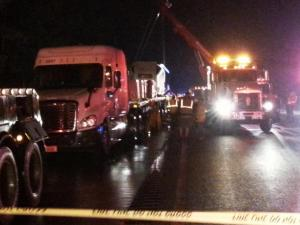 A wreck involving three tractor-trailers shut down all northbound lanes of Interstate 95 near Wilson for several hours Wednesday night. Photo by Adam Owens