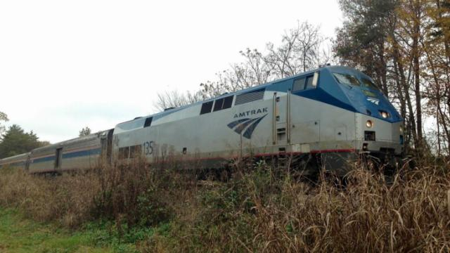 This Amtrak train bound for New York hit and killed a person who was on the tracks in Mebane on Sunday morning, Nov. 7, 2013.