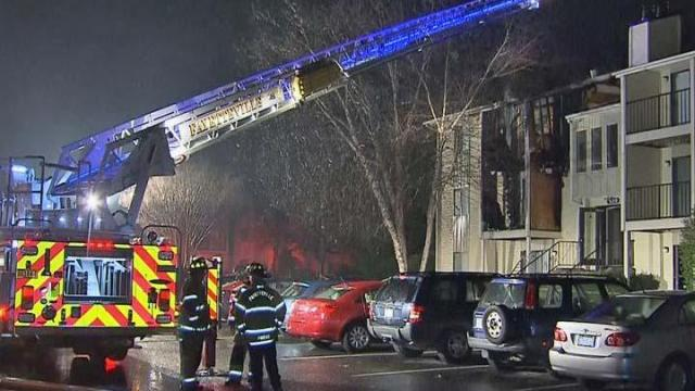 Fire caused heavy damage early Wednesday, Dec. 4, 2013, to a three-story apartment building in the 500 block of Cutchen Lane, Fayetteville Fire Department officials said.