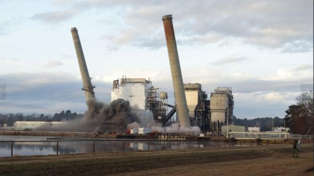 Implosion Dec. 20, 2013, at H.F. Lee Steam Plant. (Courtesy Duke Energy Progress)