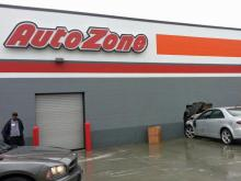 A man was injured and sent to the hospital Monday morning after his car crashed into the side of an AutoZone store in Fayetteville.