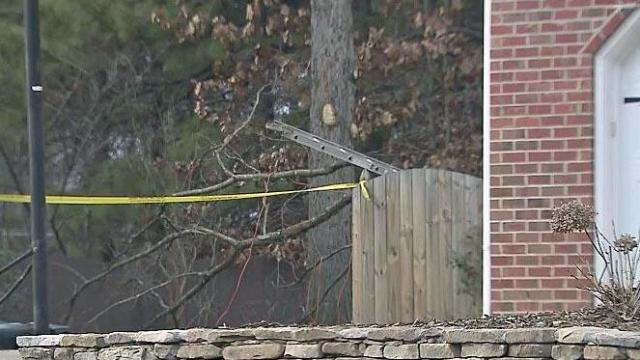 The scene after a man was seriously injured while trimming a tree