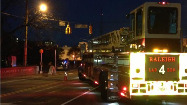 Firefighters respond Dec. 30, 2013, to reports of a gas leak on Hillsborough Street near North Carolina State University. (Amanda Lamb/WRAL)