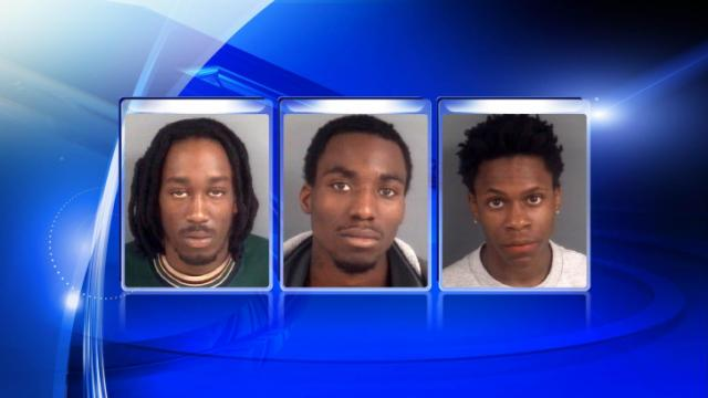 Albert Jackson, Michael Williams and Kire McNeil, left to right, are charged in a Jan. 20, 2014, double homicide at the Cambridge Arms Apartments complex in Fayetteville.