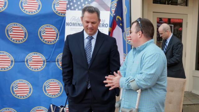 Lt. Gov. Dan Forest, left, kicked off the  Helping a Hero nomination campaign Wednesday in Fayetteville.