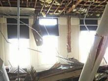 The ceiling of a Duke University classroom collapsed on Feb. 19, 2014. (Photo courtesy of Duke University)