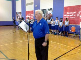 Bob Harris, radio voice for Blue Devils, was the game announcer.