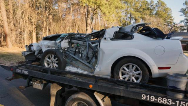 One person was injured early Friday when a Ford Mustang ran into the back of a tractor-trailer near the intersection of Carver and Broad streets, police said.
