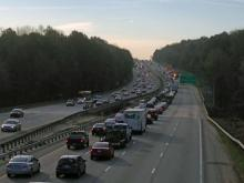 A tractor-trailer overturned Tuesday morning on Interstate 40 East between Aviation Parkway and Harrison Avenue near Cary, state Highway Patrol officials said.