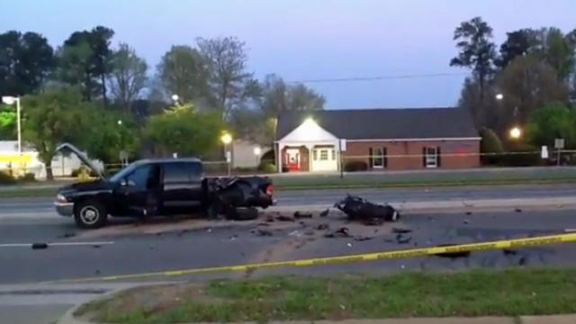 A motorcyclist was taken to the hospital after hitting a pickup truck early Sunday in Durham.